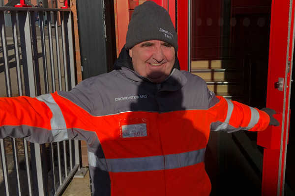 Steward at football match SS Spirit of Shankly Liverpool
